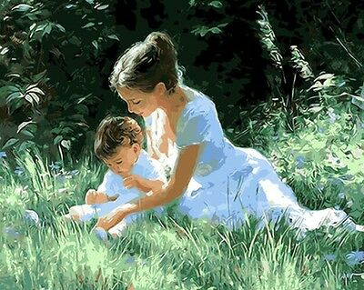 Paint By Number Kit On Canvas Baby and Mother DIY Painting Wall Decor PZ7065