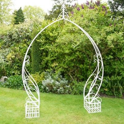 White Wash Metal Garden Arch Shabby Chic Ornate Vintage Design Scrolled Planters