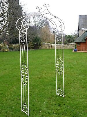 Ornate Antique White Wrought Iron Metal Rose Flowers Garden Arch Planter Feature