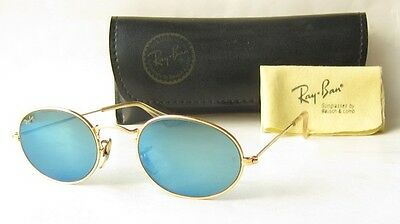 EXC VINTAGE 80s B&L RAY BAN USA BLUE MIRROR SUNGLASSES BL CLASSIC 1 I GOLD OVAL