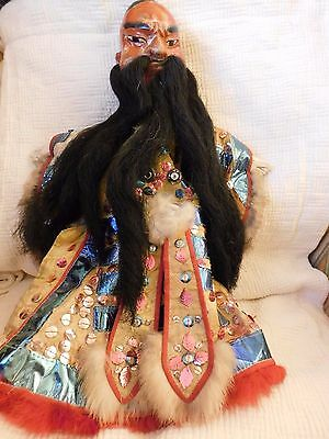 VINTAGE CHINESE HAND PUPPET wood w/ horse hair rabbit fur sequins