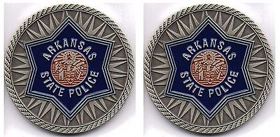 2 Arkansas State Police Challenge Coins - New Design - Made In The Usa!!!