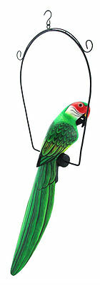 "24"" Green Parrot Cockatiel I Arfican Jungle Wood Tropical Hand Carved Painted"