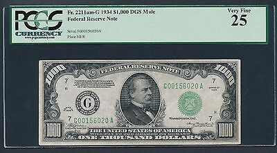 1934 $1000 One Thousand Dollar Bill Currency Cash Note Money PCGS VF 25