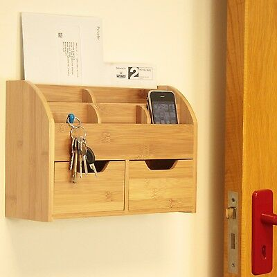 Bamboo Wall Mounted Letter Rack, Key Holder, Post Mail Bill Storage