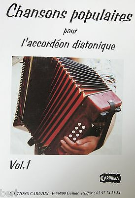 Accordion diatonic Tablatures Songs popular v.1 neuf with CD
