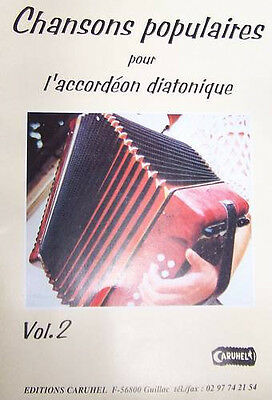 Accordion diatonic Tablatures Songs popular v.2 neuf with CD