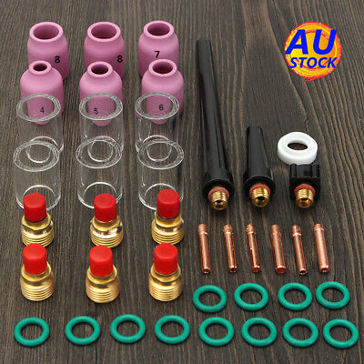 AU 40Pcs TIG Welding Torch Collet Gas Lens Glass Pyrex Cup Kit For WP-9/20/25