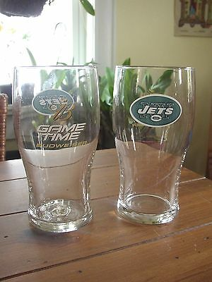 NY Jets Budweiser Game Time Beer Glasses, set of 2