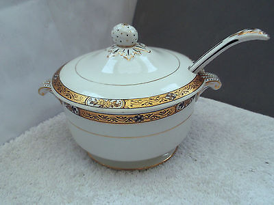 Vintage Booths Lidded Sauce Tureen With Ladle  Gold And Black Floral Pattern