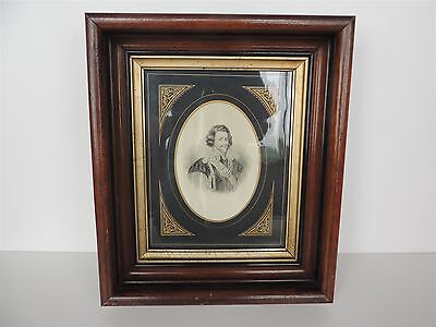 Antique Victorian Silk Portrait Framed deep walnut 1850 to late 1800s Signed