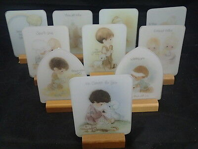 LOT OF 10 Precious Moments Vintage  1970's Plaques & Display stands