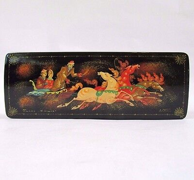 Russian Lacquer Trinket Box Palekh Winter Troika Hand Painted Signed 6in x 2.25