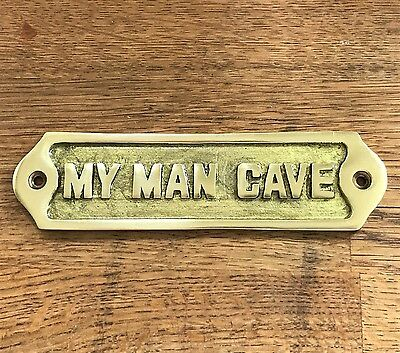 New Hand Made Man Cave Sign Shed Antique Style Brass Plaque Husband / Dad Gift