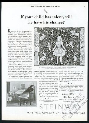 1929 Steinway baby grand piano Frank McIntosh Alice in Wonderland art vintage ad