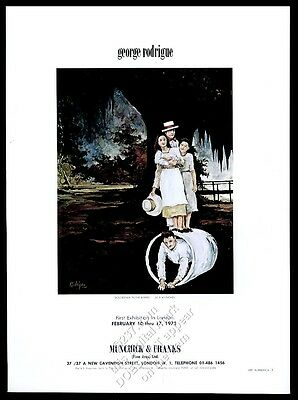 1973 George Rodrigue Boudreaux in the Barrel painting London gallery print ad
