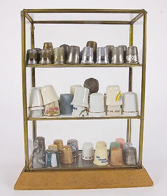Thimble Collection In Glass Miniatures Display Cabinet Case 68 Assorted Thimbles