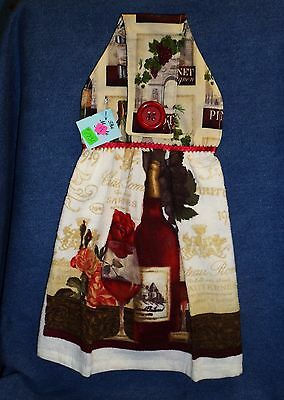 **NEW** Handmade Wine Grapes Vineyard Vintage Hanging Kitchen Hand Towel  #1731