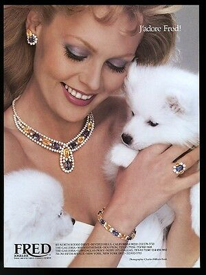 1983 Samoyed 2 puppy dog CUTE photo Fred Joaillier jewelry vintage print ad