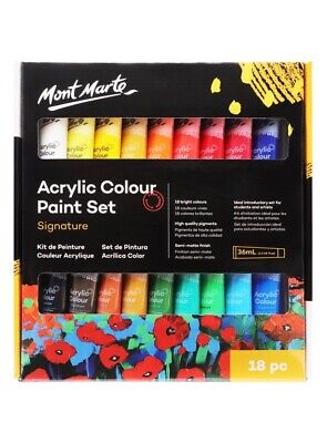 Mont Marte Studio Acrylic Paint Set 18pce x 36ml Excellent Range of Colours