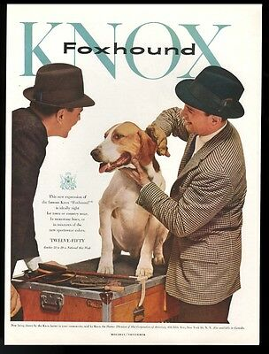 1956 foxhound photo Knox men's hats vintage print ad