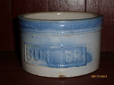 Antique Stoneware Butter Crock Blue Glaze Pottery Dish