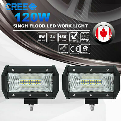 Pair 5inch LED Work Light Bar 120W CREE Flood Beam 4WD Offroad SUV Driving Lamps