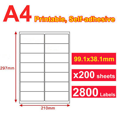 200 x A4 Sticker Paper Mailing Address Laser Inkjet 99x38mm 14 Labels per page