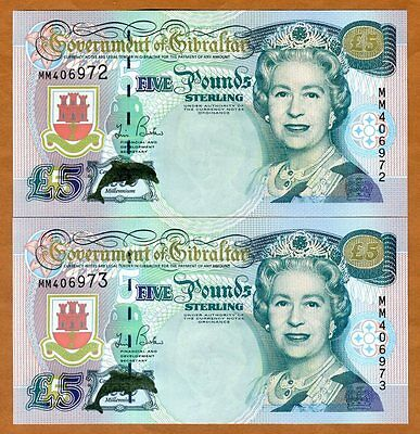 SET GIBRALTAR, 5 pounds 2000, QEII Consecutive Pair, P-29, UNC > Millennium