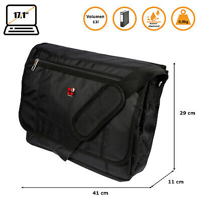 Lugano Laptop Umhängetasche Business Messenger Bag Notebook Tasche Schwarz