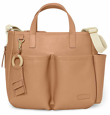 Skip Hop Greenwich Simply Chic Tote Baby Diaper Bag w/ Changing Pad Caramel NEW