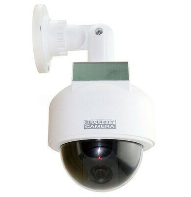 White Dummy Solar Power Dome Security Camera Waterproof with Flashing LED Lights