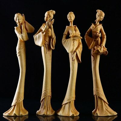 JP112 -30 CM High Carved Boxwood Carving Figurine - Set of 4 Girls Ladies Geisha