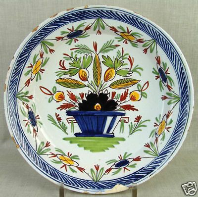 Antique 18thC Dutch Delft Pottery Polychrome Charger