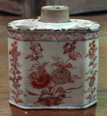 Beautiful 18thC Chinese Imari Porcelain Tea Caddy with Floral Decorations