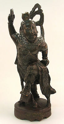 Beautiful Antique Chinese Carved Wooden Figure Statue of a Buddhist Buddha