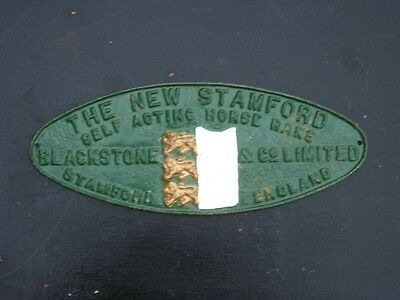 2296 Old Iron Sign Makers Plate Vintage Farm Implement Blackstone Stamford Lincs