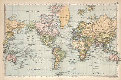 Beautiful Vintage Old World Map 1891 CANVAS PRINT  A4 Poster