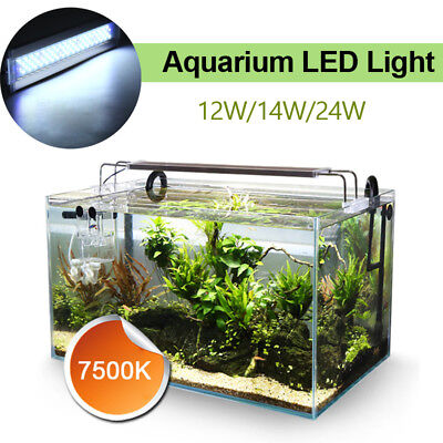28-75cm 12W/14W/24W LED Aquarium Plante Lumière Fish Tank Light Lamp Blanc 7500K