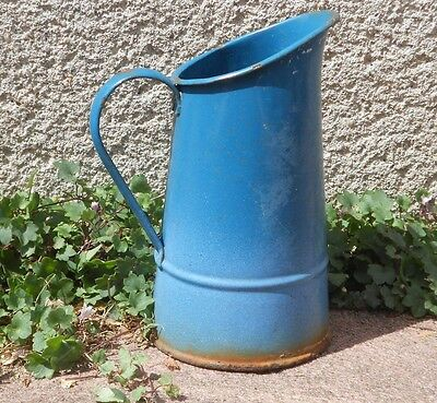 Vintage French enamelware  WATER Jug Pitcher