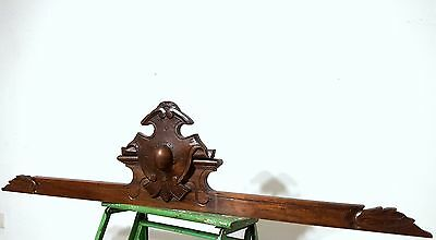 Hand Carved Wood Pediment Antique French Gothic Coat Of Arms Salvaged Carving