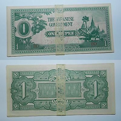 8 X Ww2 Japanese Occupation Banknotes - Unc With Original Binding - 1 Rupee