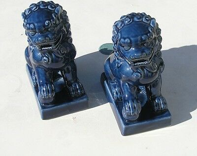 """2 Vintage Chinese Ceramics Blue Glazed Foo Dogs Lions Foodogs Foolions 7+ """""""