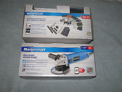 Brand New Mastercraft 5 Amp Angle Grinder And 100 Piece Screwdriver Set