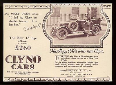 1926 Peggy O'Neil photo Clyno car open touring model photo UK print ad