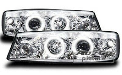 AuCo Highpower LED Angel Eyes Scheinwerfer Set Chrom passend für Opel Calibra