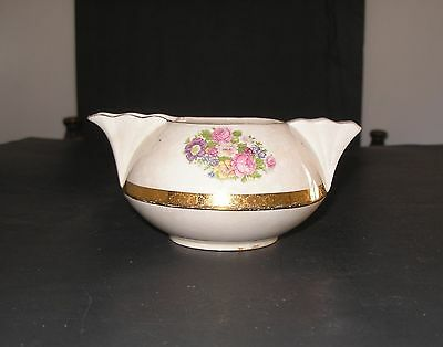 French Saxon China Floral 22K Gold Trim Sebring Ohio Vintage Brotherhood Creamer