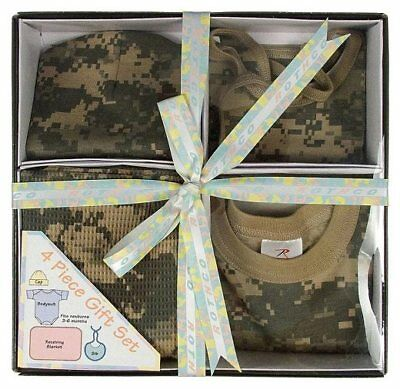 Rothco Infant 4-Piece Boxed Gift Set in Woodland Camo - 3-6 Months