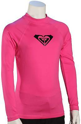 Roxy Girl's Whole Hearted LS Rash Guard - Paradise Pink / Black - New