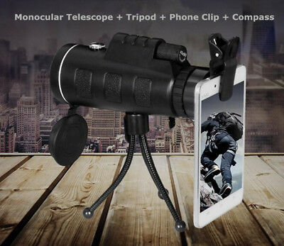 Super High Power 40X60 Portable HD OPTICS Outdoor Monocular Telescope+Phone Clip